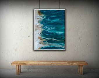 Abstract Art Blue Wall Art Coastal Landscape Giclee Large PRINT On Canvas  Large Gift For Friend