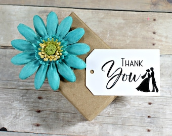 White Thank You Tags (20 pc) - White Wedding Gift Tags - Wedding Favor Tags - Favor Labels - Bride and Groom Silhouette - Bridal Tags