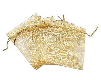 Gold Swirl Sheer Organza Wedding Favor Bags, Great Gatsby Party, Jewelry Gift Bags, Soap,Potpourri, Business Samples, Drawstring Pouch