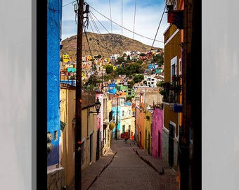 Guanajuato Cityscape Poster Print  Mexico Photography Large Wall Hanging  Mexican Street Photography