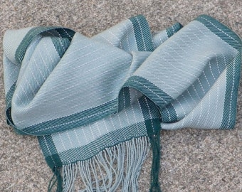 Reflective Green scarf - Night safe forest and jade green stripe