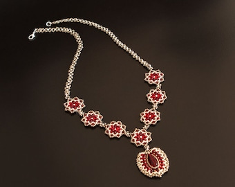 Beaded Necklace in Two Tones of Silver and Red with Matching Pendant, Rosettes and Beadwoven Chain. Antique Style Beadwoven Necklace. S41