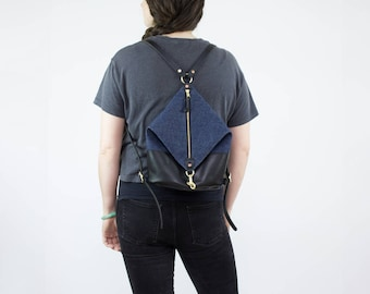 Leather Backpack - Dark Denim and Black Leather Mini Backpack - Canvas Backpack - Backpack Purse - Leather Bag - Leather Purse