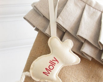 Personalized Cat Christmas Stocking Embroidered Tag Pet Label Gift Ornament Monogram