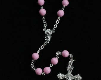 Handmade Pink Rosary, Madonna & Child Center, Vine And Branches Crucifix