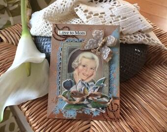 Mom Birthday Card - Mother's Day Card - Handmade Card Mom