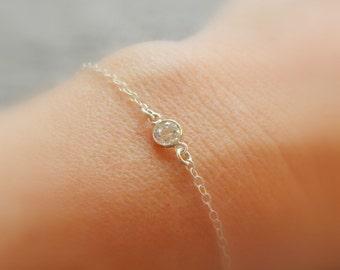 Tiny CZ bracelet, Dainty silver bracelet, Diamond bracelet, Bridesmaid bracelet, Silver bracelet, Custom bracelets