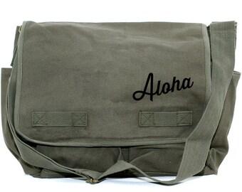 Messenger Bag | ALOHA | Gift for Men | Camera Bag | Tropical Travel Hawaiian Gift | Hawaii Vacation | Honeymoon Luggage | Beach Wedding Gift