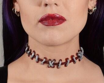 Stitches Halloween Necklace -Frankenstein Zombie -  Silver on  Dark Red