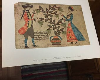AMERICAN PRIMITIVE WATERCOLOR Print: Spring Blessing, Artist Unknown