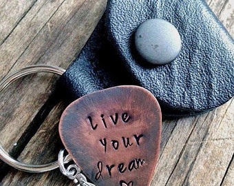 Graduation Key Chain, Dream Copper Guitar Pick, Personalized,  Leather Pouch, Key Ring, Guitar Charm, Musical, Hand Stamped Christmas Gift