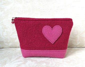 Heart Felt Zippered Pouch, Upcycled Felted Wool Sweater Clutch in Raspberry Red and Pink