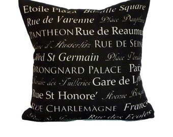 clearance discontinued 50 % off  huge sale destination throw pillow cover black cream paris french typography linen decor 18x18
