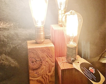 Reclaimed Block Wood Lamp in varius sizes.