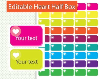 Editable Heart, Planner Stickers, Editble Planner Stickers, Printable Planner Stickers, Instant Download