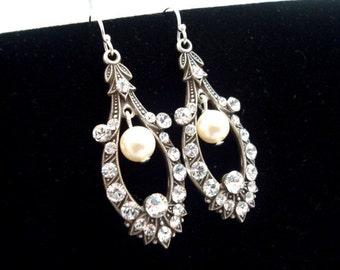 Bridal earrings,  vintage style earrings, wedding earrings with Swarovski crystals and Swarovski ivory  pearls, wedding jewelry