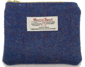 Harris Tweed Purple Coin Purse with Yellow Zip