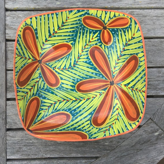 "Haitian Hand Painted Bowl (Square), Made from Paper Mache 9"" x 9"""