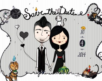custom Save the Date illustration 5x7