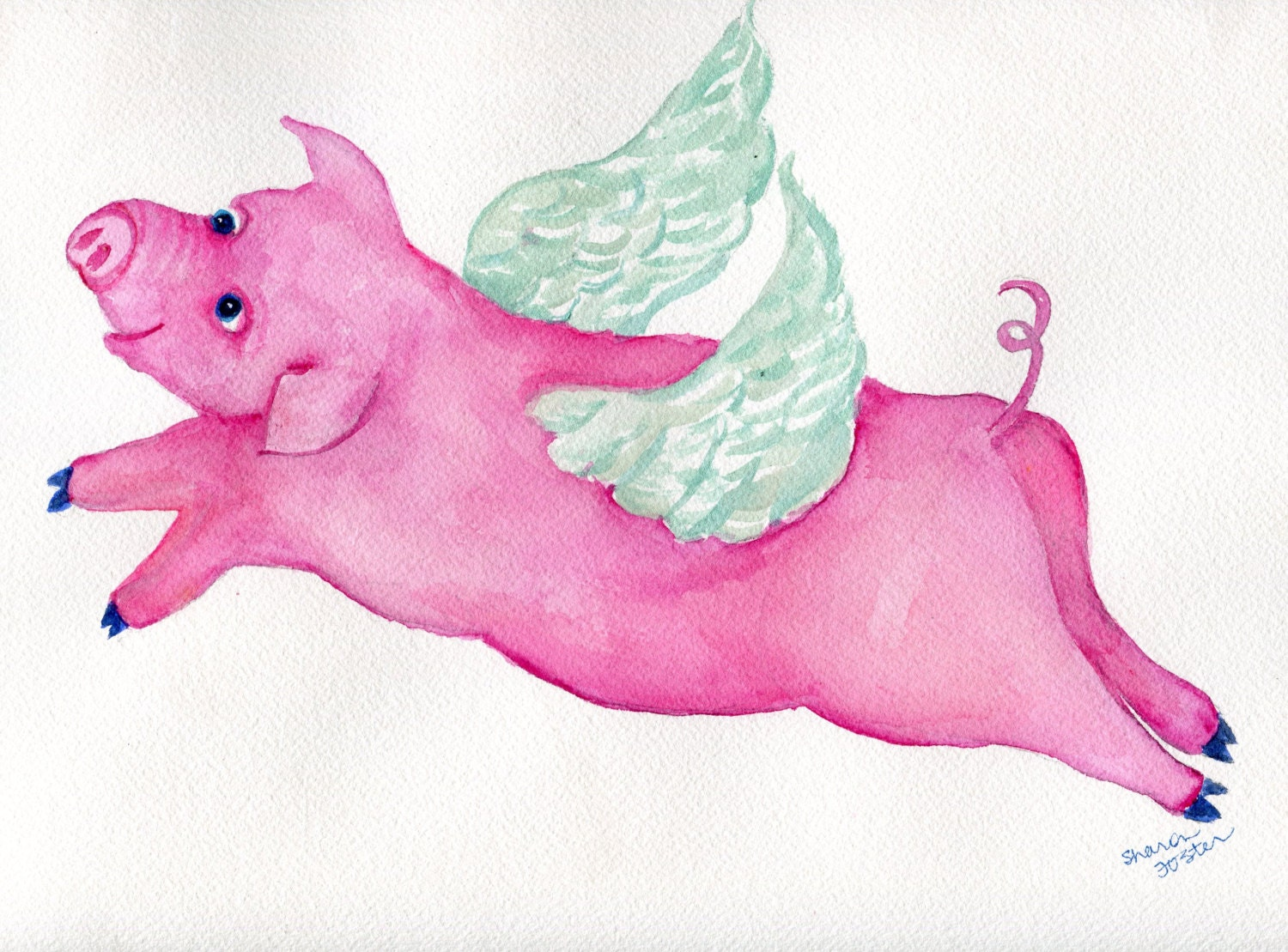 Flying pig watercolor painting original 9 x 12 when pigs fly zoom arubaitofo Images