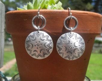 Southwestern domed earrings - Native American stamped - Tribal pattern drop earrings sterling silver