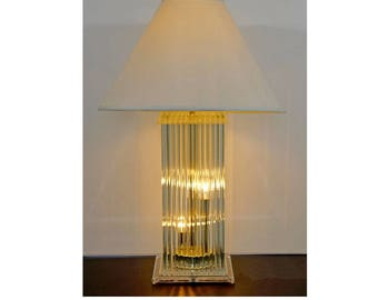Mid Century Modern Brass Glass Rod Lucite Table Lamp Gaetano Sciolari 1970 Italy