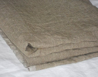 Taupe linen fabric by yardage prewashed rough rustic natural European flax undyed natural color linen for photo props