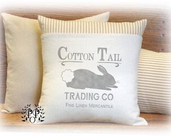 Bunny Pillow, Pillow Cover, Cotton Tail Pillow, Farmhouse, French Country, Spring Decor