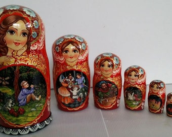 Very pretty scene (chat up) matryoshka, nesting doll 7 pieces