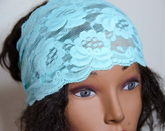 "Stretch Lace Hair Wrap -Adult/Teen Bandana Measures 25"" by 6""  Lace Headband * Lace Dolly Bow * OOAK * Gift For Her"