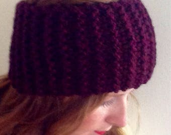 Adult Headband/Ear Warmer: Maroon, Knit