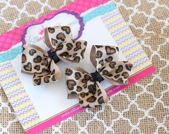 Baby Bows, Toddler Bows, Girls Hair Bows, Boutique Hair Bows, Cheetah Leopard Pigtail Bows, Cheetah Leopard Piggy Set, 2.5 Inch Bows
