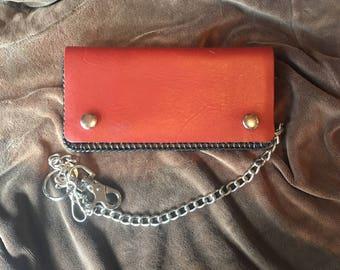 Repurposed Vintage Brown Leather Biker Wallet with Chain Trucker Wallet