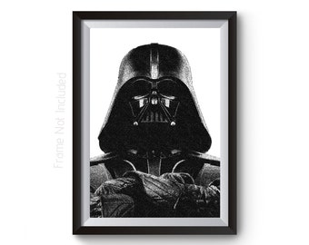 Star Wars Poster, Star Wars Print, Darth Vader Art, Darth Vader Poster, Darth Vader Print, Star Wars Decor, Black White Art, Minimalist Art