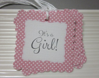 It's a Girl / Baby Girl / Baby shower / Pink and Gray / favor / gift tags / set of 12