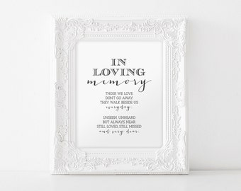 In Loving Memory, Printable Wedding Memorial Table Sign, Memory Sign, Those We love Don't Go Away, 8x10, PDF Instant Download #BPB152_54
