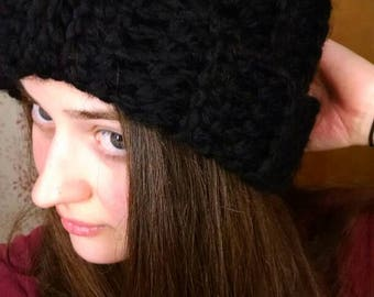 Ready to ship - Black Pompon Beanie - Wool - Super Soft Hat - Winter Gifts Early Spring Fashion Finds