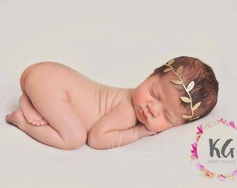 Boho Baby Headband, Baby Girl Headband, Newborn Headband, Flower Girl Headband, Gold Headband, Boho Headband, Newborn Photo Prop