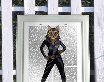Cat in leather catsuit cat poster, cat decor, cat illustration, cat picture, cat gift, cat lover, cat art, wall art, cat print