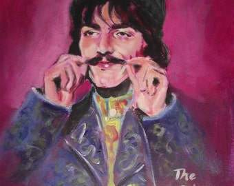 Original Pop Art Painting on canvas by Simon Pritchard of George Harrison Beatles 1960s Merseybeat