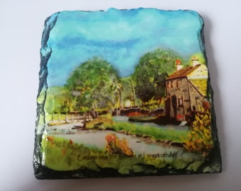 Cottage in Langstrothdale - Slate Coaster