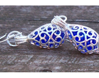 Recycled Noxzema Bottle Silver Filigree Teardrop Earrings/Upcycled Recycled Repurposed/Bridesmaid Gift/Gift for Her/Cobalt/Pendant Necklace
