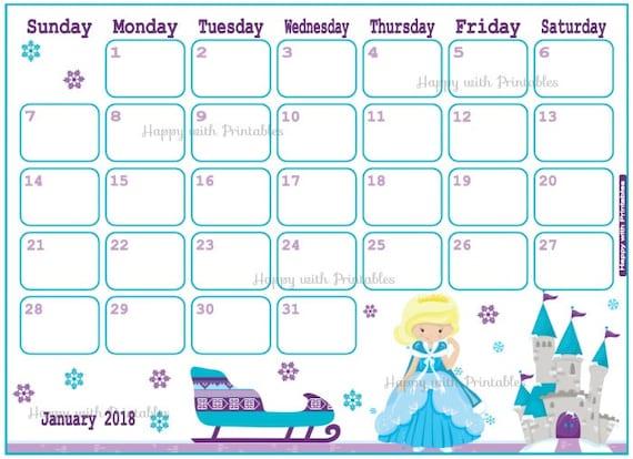 January 2018 Calendar Kids : Sale calendar january princess planner printable cute
