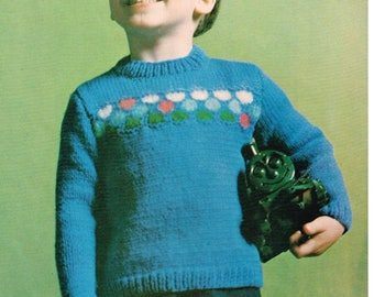 Vintage Knitting Pattern - Child's Sweater - PDF Download - 60's retro 1960's Boys or Girls Pullover