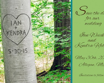 Personalized Printable Save the Date Card- Carved Heart Tree- Your Names and Wedding Date- Custom Colors