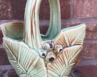 Vintage 1940s McCoy Art Pottery/Leaves and Berries Handled Basket