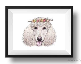 Dog Art Print - Poodle and Kababs, Childrens Art, Kids Wall Art, Frameable Art, Animal Wall Art, Dog Art, Dog Portrait, Pet Art