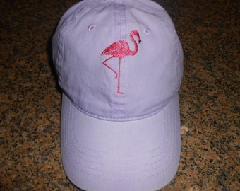Beautiful Embroidered Flamingo on Lavender Color Cap