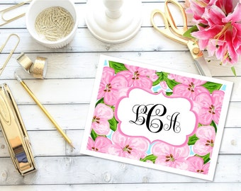 Preppy Note Cards - Floral Note Cards, Custom Note Cards, Thank Yous, Thank You Notes, Monogrammed Note Cards, Stationery Set, Stationary