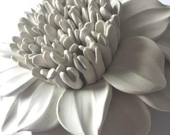 Full Center Dahlia Clay Wall Sculpture
